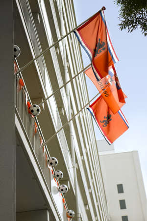 flagging: THE NETHERLANDS - 2012  Support of the Dutch team in the cities during soccer- or football championships, decorated appartmenthouse, June 2012, the Netherlands