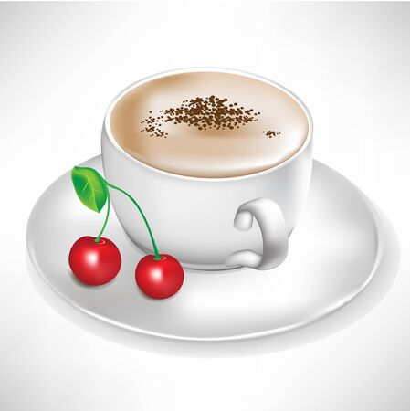 espresso cup: cup of coffee with cherry  Illustration