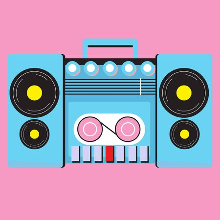 portable player: retro cassette player Illustration