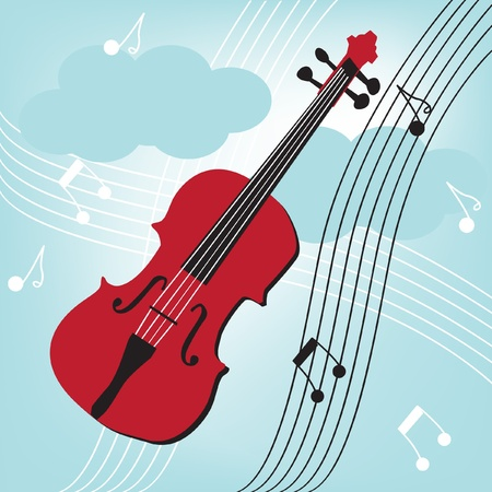 violin on blue sky and musical notes Stock Vector - 10838393