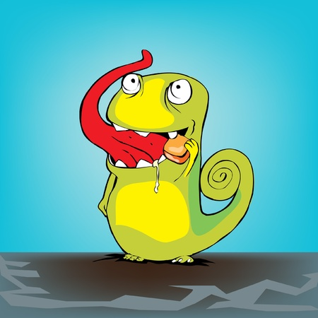 cute chameleon eating candy Stock Vector - 10838439
