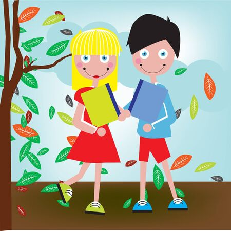 school boy and girl with books in autumn Vector