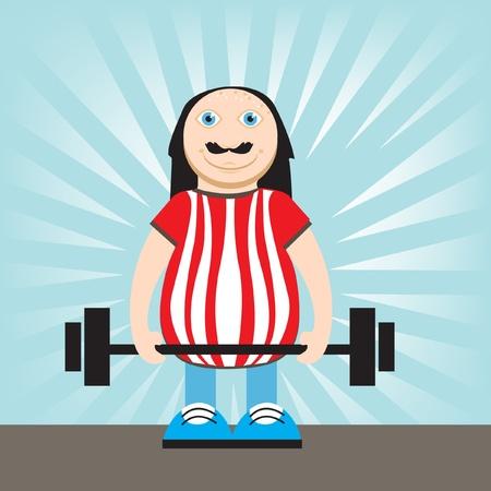 hombre levantando pesas: hombre de edad media los pesos de elevaci�n