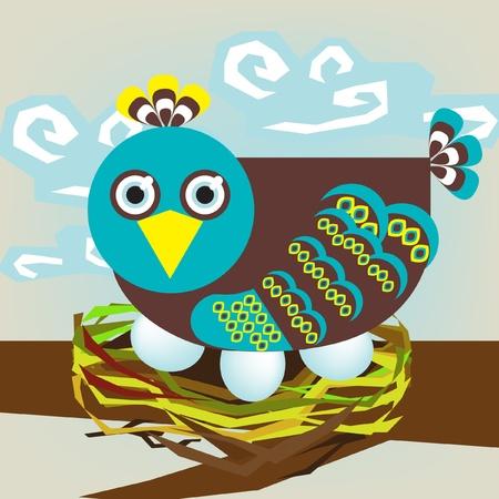 cute bird with eggs on nest Stock Vector - 10838414