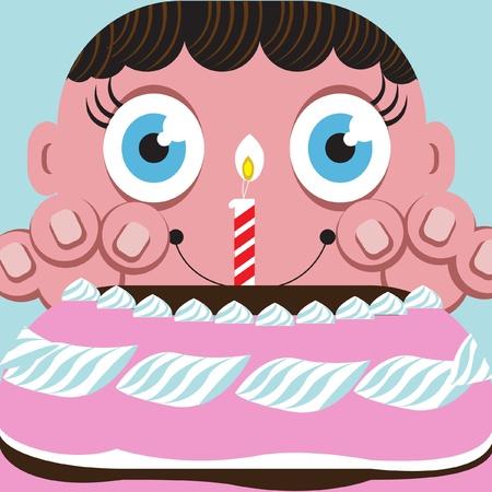 craving: child craving for cake Illustration
