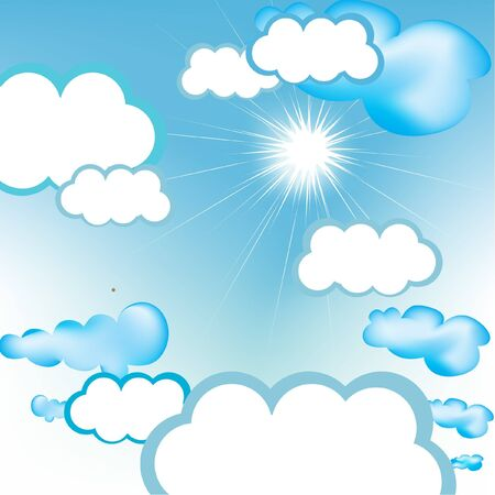 clouds scape: beautiful clear sunny sky Illustration