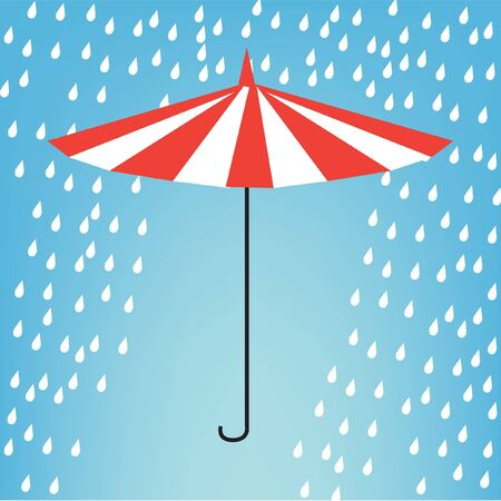 umbrella in the rain illustration Vector