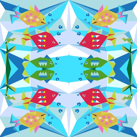 abstract background with fish and water Vector