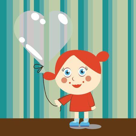 little girl with balloon illustration Stock Vector - 10838109