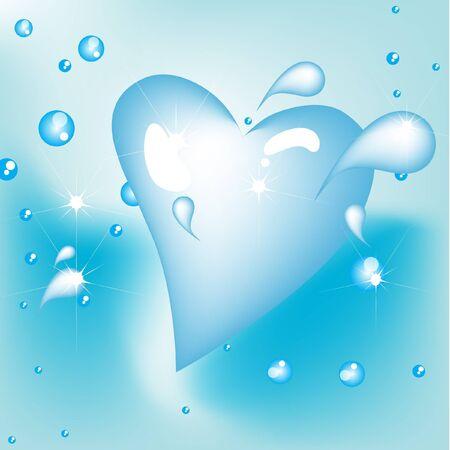 clean heart: water drops in heart shape splash
