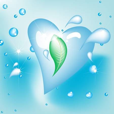leaf water drop: leaf in water heart shaped