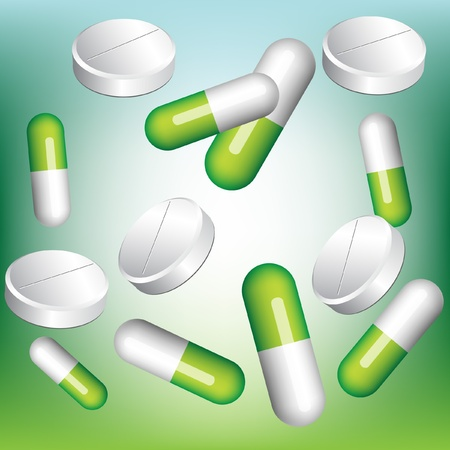 green chemistry: pharmaceutical pill assortment background Illustration