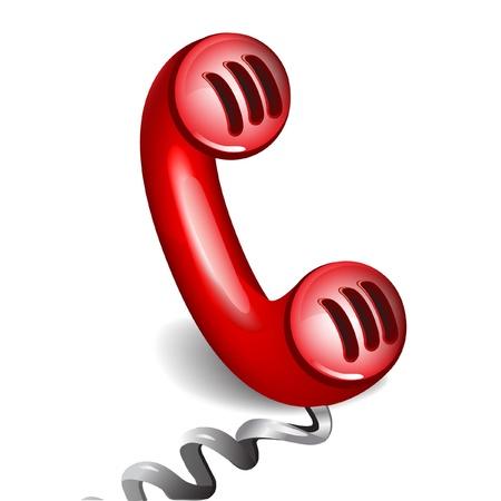 cable telefono: el receptor icono de teléfono en blanco Vectores