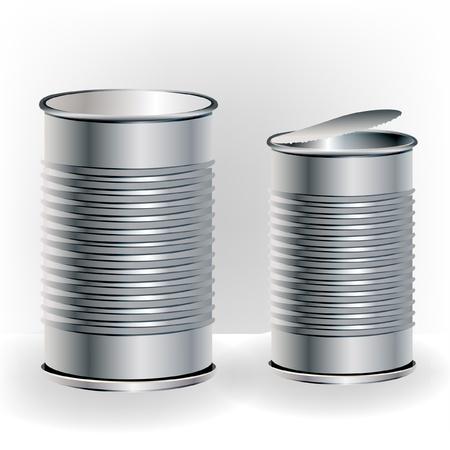 twee open en gesloten aluminium blikjes Vector Illustratie