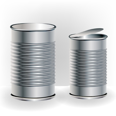 two open and closed aluminum cans Vector