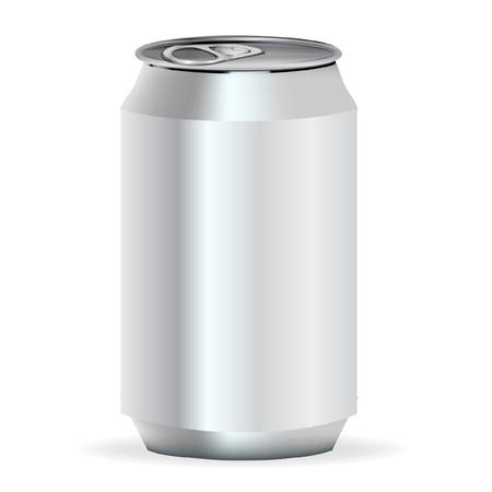 lata de refresco: refrescos de latas de aluminio vista frontal Vectores