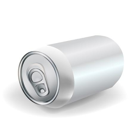 lata de refresco: sosa lata de aluminio en vista en perspectiva