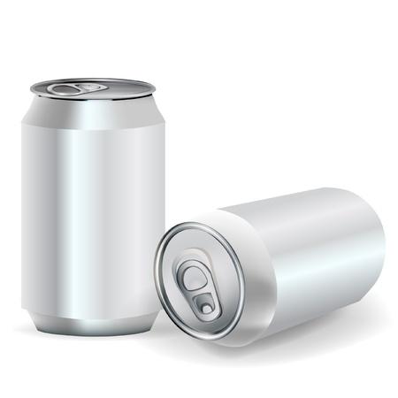 lata de refresco: dos latas de aluminio de soda en la perspectiva de ver