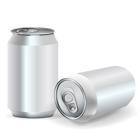 two aluminum soda cans in perspective view