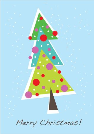 cute christmas tree card Stock Vector - 10838137