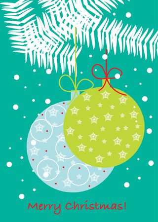 christmas globes on branch card Stock Vector - 10838295