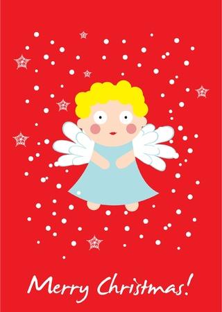 cute angel christmas card Vector