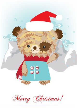 lanscape: teddy bear in snowy lanscape Illustration