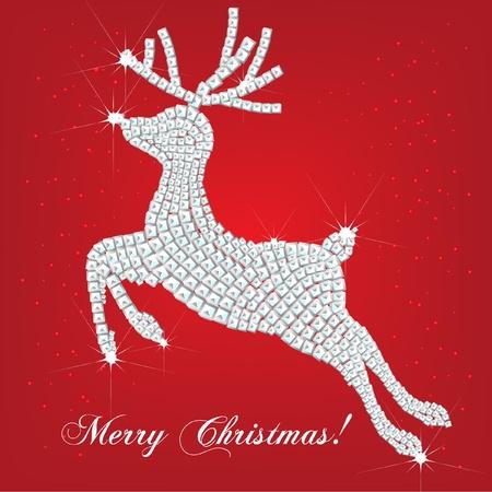 red deer: christmas deer made of diamonds