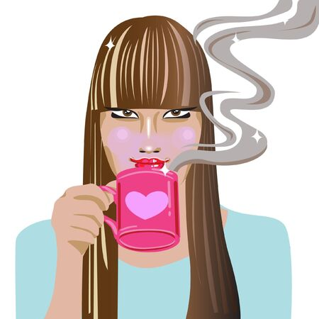 young woman drinking coffee Stock Vector - 10838182