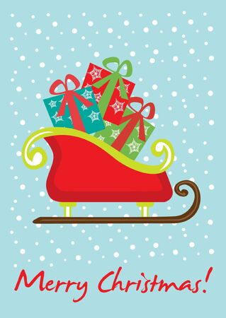 santas sleigh: christmas sleigh card Illustration