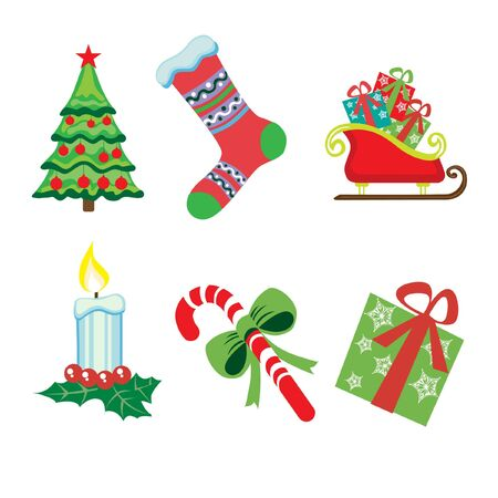 christmas icons on white Vector