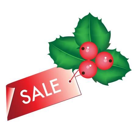 christmas sale tag with mistletoe Stock Vector - 10838337