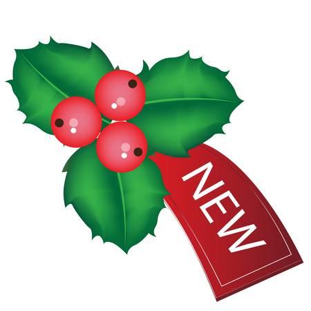christmas sale tag with mistletoe Vector