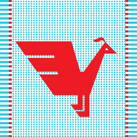 red cross red bird: ethnic red geometric bird