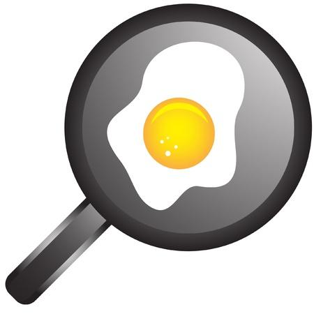 frying pan with eggs Vector