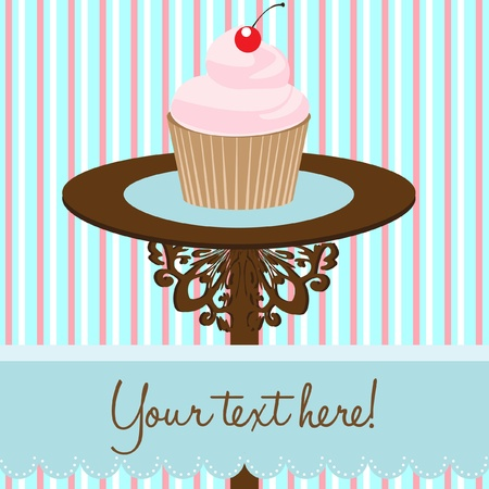 cupcake background card Stock Vector - 10851473