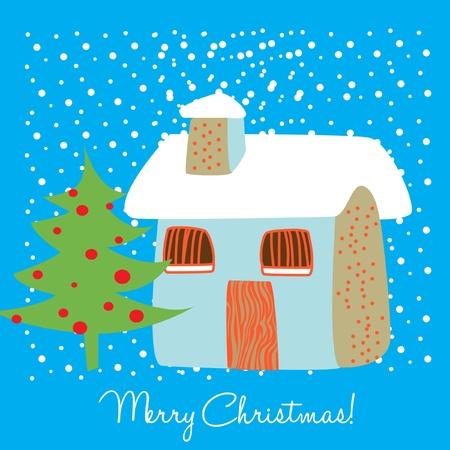 house in snow christmas card Vector