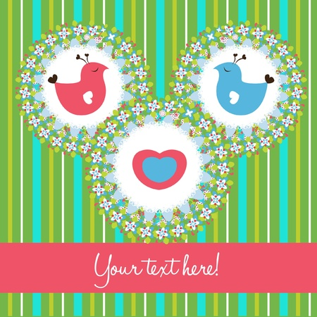 bird love cute card Stock Vector - 10852269