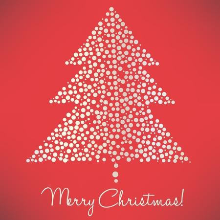 christmas tree of dots elegant card Stock Vector - 10851682