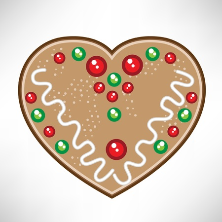 gingerbread cake: christmas heart cookie Illustration