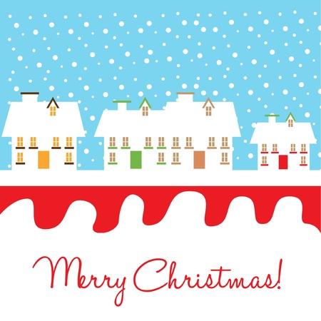 folk village: houses and snow christmas card