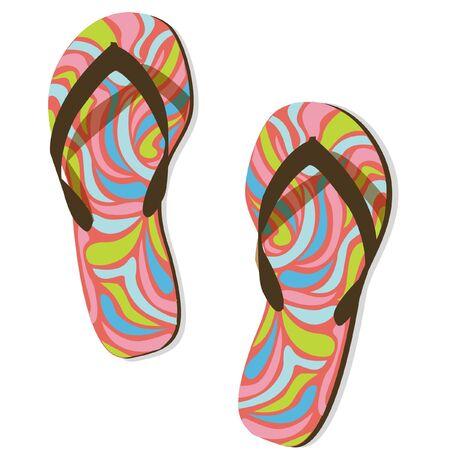 sandalias: tirón colorido flops