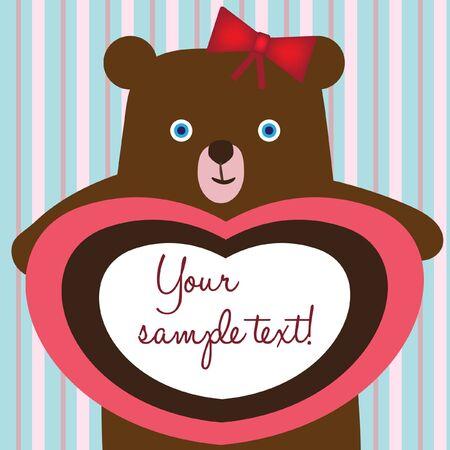 teddy bear love card Vector