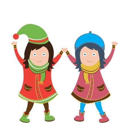 girls holding hands: two cute girls holding hands Illustration