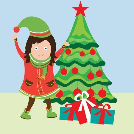 happy girl near christmas tree Vector