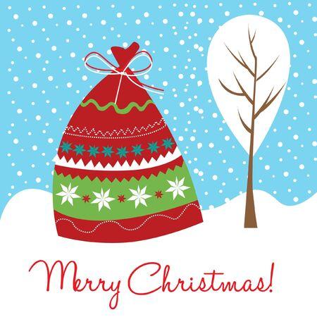 huge christmas tree: christms gift bag card