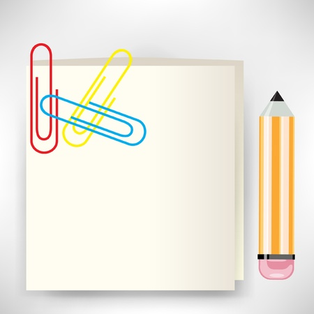 stickie note and pencil with clips Vector