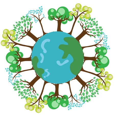 trees on planet earth globe Stock Vector - 10851691