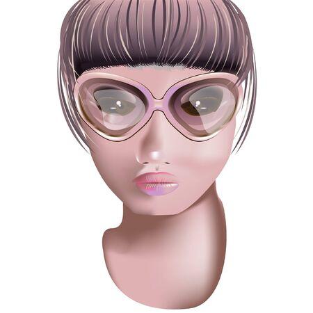 dark hair: chica con gafas Vectores