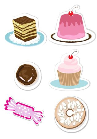 layer cake: sweets and candy stickers set Illustration